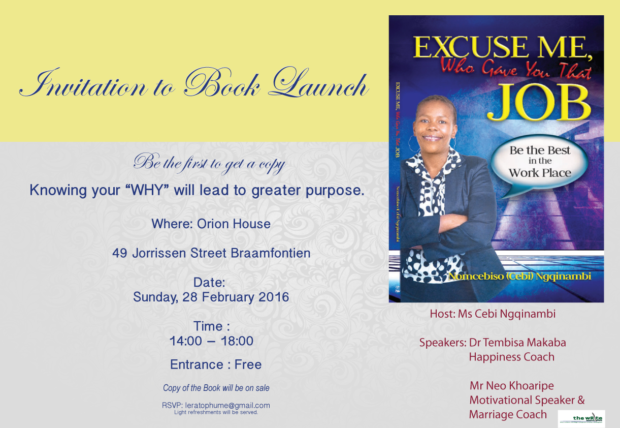 Invitation To Book Launch The Write Associstes